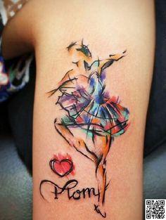 40. #Ballerina - 45 Incredible #Watercolor Tattoos ... → #Beauty #Subtle