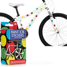 POLKA DOT BIKE STICKERS    You want to make your bicycle unique but someone keeps stealing your glittery handlebar tassels!  How are you supposed to tell your bike from all the other ones when it looks so plain and boring?  Add our Polka Dot Bike Stickers to your bike and it will be far from ordinary!