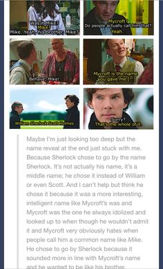 He CHOOSES to be called Sherlock so he can be looked up to as much as people look up to Mycroft.