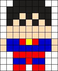 Superman Sprite Perler Bead Pattern / Bead Sprite