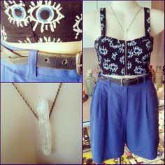 #vintage #cobalt #blue #shorts $39 #eviltwin #optical #intrusion #bustier $49 @thebunnyshoppe #single #crystal #quarts #necklace $28 #eyeseeyou #eyes #eye #evileye #electric #gem #stone #summer #fun