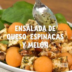 Ensalada de queso espinacas y melón Dünya mutfağı Healthy Cooking, Healthy Eating, Cooking Kale, Cooking Bacon, Veggie Recipes, Healthy Recipes, Healthy Snacks, Cooking Dried Beans, Cooking Twine