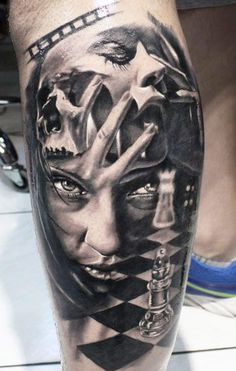 3d-grey-and-black-portrait-tattoo-on-arm.jpg (388×610)