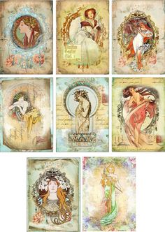 Vintage inspired victorian women note Cards tags ATC altered art set of 8 - Buscar con Google