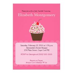 Yummy Cupcake Baby Shower Sprinkle 5x7 Custom Invitation