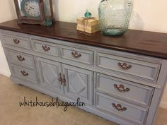 Love how this came out. Blue skies chalk paint, Java Gel top & antiqued copper hardware.