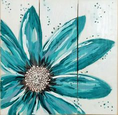 Back by popular demand. This turquoise flower is a reproduction of my original turquoise flower. The original was on reclaimed wood. This popular reproduction is on canvas.