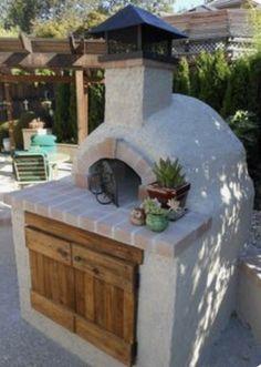 Four à pizza bois : wood fired masonry heater and oven Diy Pizza Oven, Pizza Oven Outdoor, Pizza Ovens, Rustic Kitchen Design, Outdoor Kitchen Design, Outdoor Kitchens, Backyard Kitchen, Backyard Patio, Outdoor Island