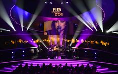 Scottish singer Amy MacDonald performs during the FIFA Ballon d'Or awards ceremony at the Kongresshaus in Zurich on January 7, 2013.