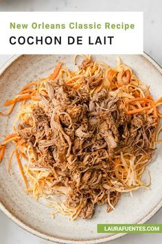 The classic New Orleans Cochon de Lait recipe made easy at home in the slow cooker can be as a sandwich or low-carb in a bowl! Pork Dry Rubs, 6 Quart Slow Cooker, Skinny Recipes, Low Calorie Recipes, Pork Roast, Coleslaw, The Dish, Serving Size, Cooking Time