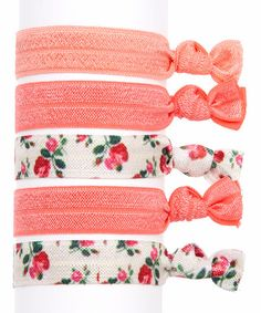 Look what I found on #zulily! Pink Floral Hair Tie Set by Three Bird Nest #zulilyfinds