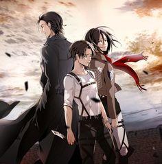 Shingeki no Kyojin, Mikasa Ackerman, Kenny Ackerman, Levi Ackerman.