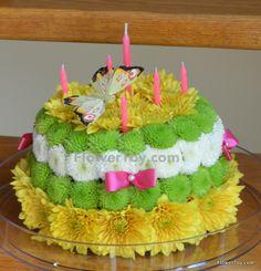 Birthday Cake!!! Cake made from fresh flowers.