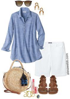 Plus Size Chambray Tunic Outfit