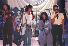 Brandy, Whitney Houston, CeCe Winans, and Mary J Blige in Grammys rehearsals