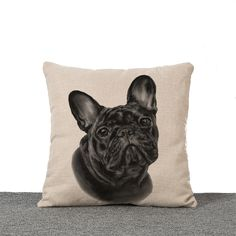 Sketch Painting Pet Dog Emoji Pillow Case Cushion Cover Bulldog Pug Dogs Printing Home Decoration Sofa Chair Throw Pillow Cover Strong Resistance To Heat And Hard Wearing Table & Sofa Linens Cushion Cover