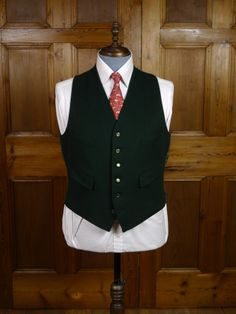 A vintage doeskin wool country waistcoat is perfect under a tweed jacket. Typically £40-£50.