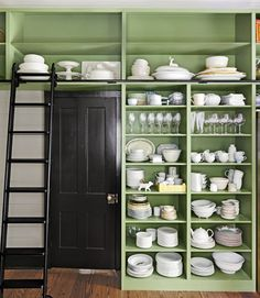 Floor-to-ceiling Kitchen Shelves. I like this, but maybe for a dining room wall so it doesn't get dirty from messes in the kitchen. Or maybe to create a pantry of sorts.