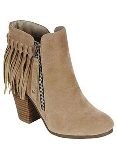 Canyon Creek Fringe Ankle Booties - Beige