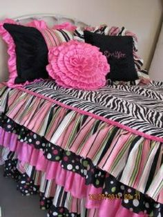 The hot pink, black and white zebra bedding has rows of cascading ruffles and a minky cording around the top edge. It will cover your teen daughter's entire bed to the floor. The fabrics are in zebra, hot pink, lime green and white or pick your own design Zebra Print Rooms, Zebra Print Bedding, Animal Print Rooms, Polka Dot Bedding, Cute Bedding, Teen Bedding, Pink Bedding, Black Bedding, Teen Girl Bedrooms