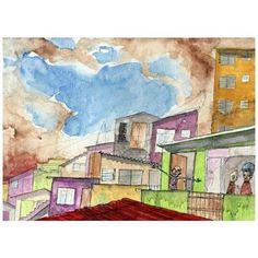 Bom Dia Quebrada. 2014. Aquarela, lápis aquartelado e Nanquim sobre Montval (29,7cm x 21cm), São Paulo.  #Aquarela #Watercolor #Aquarelle #Art #Arte #illustration #ilustracion #ilustraciones #Ilustracao #cidade #city #comunidade #favela #quebrada #CrisRodrigues