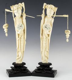 """Origin: Asian; Type of Item: Two Geisha  figures; Material: Carved ivory with wood  bases; Approximate Measurement: One 16"""" x 5""""  x 3.875""""; Approximate Weight: 4 lbs; Note:  Cracking present due to dry Arizona climate, Please familiarize yourself with the laws of  possession/shipment of ivory in your state  PRIOR to bidding - there is NO shipping for  this item out of country compliant with  Federal Law. The following states do not allow intracontinental shipment of ivory: New  York, New…"""