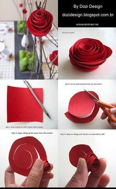 Flores de papel para decorar a mesa durante o jantar de Dia dos Namorados. #diadosnamorados #flor #decoração