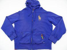 Rare Big Pony Polo Ralph Lauren Full Zip Hoodie Distressed Mens Large L Purple #PoloRalphLauren #Hoodie