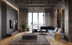 Merged apartments make a cool loft space. Featuring an edgy interior with concrete decor, warm natural materials & a monochrome color scheme with bright accents Spacious Living Room, Living Room Grey, Living Room Decor, Living Spaces, Living Room Kitchen, Style Loft, Beton Design, Contemporary Interior Design, Contemporary Apartment