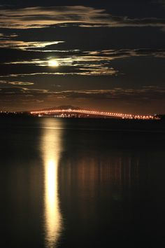 Moon Rise Over Auckland City, New Zealand