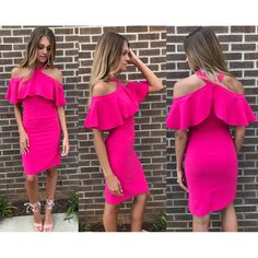 Pink ruffle dress #swoonboutique