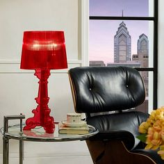 French Petite Table Lamp in Red