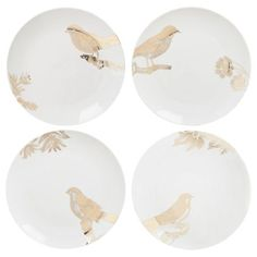I pinned this 4 Piece Calling Birds Dessert Plate Set from the Open Invitation event at Joss and Main!