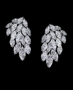 "Alexandre Reza ""Cascade"" Diamond Earrings featuring 38 marquise-shaped diamonds weighing 55.10cts (D. IF)."
