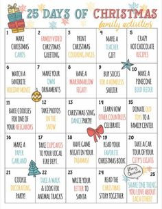 Christmas Countdown Calendar of Fun Family Activities- Printable Have. Christmas Countdown Calendar of Fun Family Activities- Printable Have the best holiday Christmas season e Christmas Activities For Families, Advent Activities, Family Activities, Christmas Activites, Fun Winter Activities, Christmas Printables, Kids Printable Activities, Advent Games, 25 Days Of Christmas