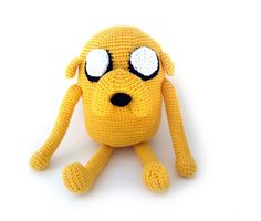 """Jake the Dog from Adventure Time - Free Amigurumi Pattern - PDF version - Click to """"download"""" here: http://www.ravelry.com/patterns/library/jake-the-dog-5"""