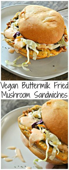 Vegan Buttermilk Fried Mushroom Sandwiches - Rabbit and Wolves