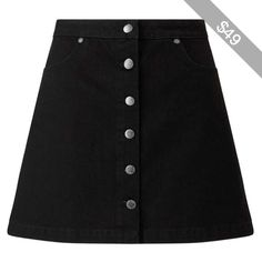 Miss Selfridge Black Button Through Denim Mini Skirt