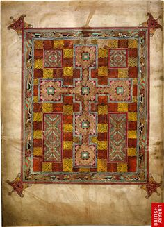 Photograph of page from the Lindisfarne Gospels // The first of five major decorated openings in the manuscript...A cross-carpet page, named from its striking resemblance to a carpet composed of crosses.