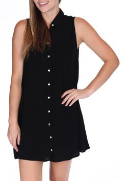 Button Up Collared Trapeze Dress In Black