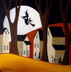 ORIGINAL painting folk art Halloween Trick Or Treater Flying witch costumes moon