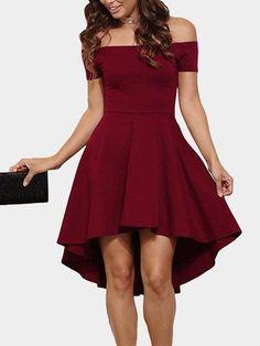 Burgundy Sexy Off Shoulder Irregular Hem Dress - US$19.95 -YOINS