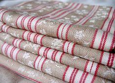 vintage ticking linen