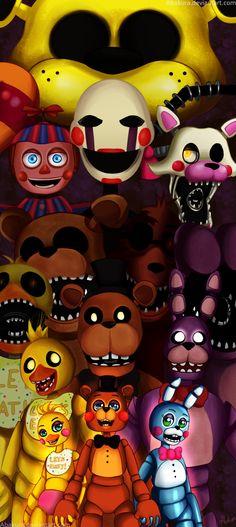Five nights at freddy`s  -All the gang by Abakura.deviantart.com on @DeviantArt