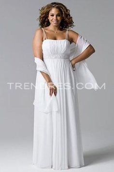 Charming Chiffon Dress Features Empire Waist and Double Spaghetti Straps, Plus Size Bridesmaid Dresses - Trendress.com