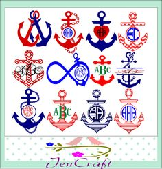 Anchor Monogram framesThis digital artwork can be used by cutting software, such as Cricut Design Space, Silhouette Studio, Sure Cuts A Lotand (SCAL) and Brothe Chevron Anchor, Anchor Monogram, Circle Monogram, Monogram Alphabet, Nautical Anchor, Monogram Fonts, Monogram Letters, Nautical Theme, Boat Decals