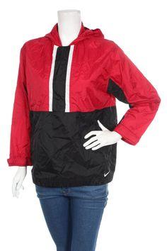 Vintage 90s Nike Swoosh Women's Windbreaker pullover jacket Color Block Black/Red Size 14-16 L by VapeoVintage on Etsy
