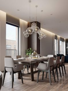 Who doesn't want to have a modern and stylish dining room? Check this list of contemporary dining room ideas out that'll make you stunned! Luxury Dinning Room, Elegant Dining Room, Dining Room Design, Dining Room Curtains, Dinning Room Tables, Dining Room Furniture, Dining Rooms, Furniture Decor, Dinning Room Lights