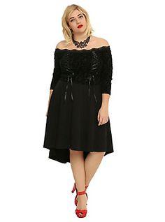 Tripp Black Lace-Up Hi-Low Dress Plus Size, BLACK