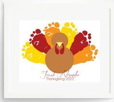 """Create a Thanksgiving Keepsake Gift for Mom or Grandma:  8.5"""" x 11"""" Personalized Thanksgiving Turkey Footprint Art Print by Pitter Patter Pr..."""